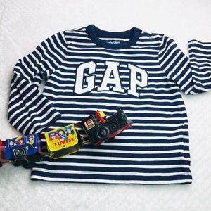 Gap kids logo 100% cotton striped long sleeve